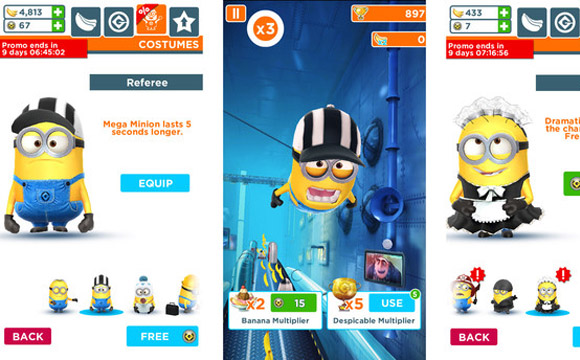 minion rush costumes iphone android